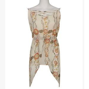 🌟HP🌟Ivory Floral Strappy Layered Woven Tunic